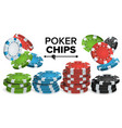 casino chips stacks 3d realistic colored vector image