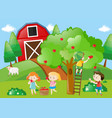 children picking the apples from the tree vector image