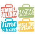 color suitcase logo travel logo set vector image vector image