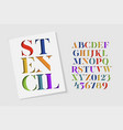 colorful stencil alphabet vector image vector image