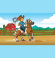 cowgirl riding horse at ranch vector image