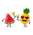 cute fruit watermelon and pineapple vector image