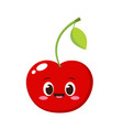 cute happy red cherry character vector image