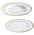 Empty white plates with gold rims vector image