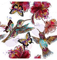 floral seamless wallpaper pattern with hummingbird vector image vector image