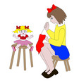 girl sewing clothes for dolls vector image