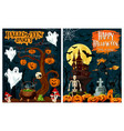 halloween party banner of ghost house and pumpkin vector image vector image