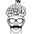 Hand drawn Hipeter head with crossed checkered vector image