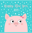 happy new year 2019 pig piggy piglet girl face vector image vector image