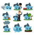 house insurance business service set property vector image vector image