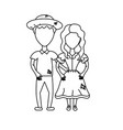 line cute brazilian couple with hat and typical vector image vector image