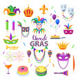 mardi gras carnival elements colourful collection vector image vector image