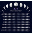 moon calendar 2018 year vector image