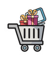 online shopping cart gifts computer vector image vector image
