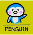 penguin hand-drawn style vector image