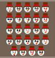 set of snowman emoji vector image