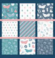 set seamless backgrounds on theme baby vector image vector image