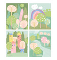 set spring lanscape in flat style vector image