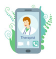 smartphone with virtual doctor flat style doctor vector image vector image