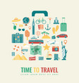 suitcase silhouette with travel flat icons travel vector image vector image