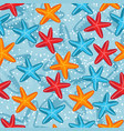 summer seamless pattern with starfish on blue vector image