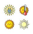 sun icon set cartoon style vector image vector image