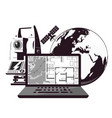 surveying and cartography globe and computer vector image vector image