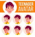 teen boy avatar set face emotions school vector image vector image