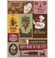 wine retro set vector image