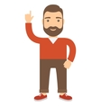 Man with his hand raised pointing at the top vector image