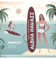 Vintage banner of Hawaiian island with a surf girl vector image