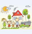family near their house vector image