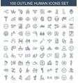 100 human icons vector image vector image