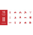 15 station icons vector image vector image
