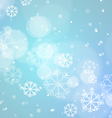 Abstract Bokeh Light with Snowflakes on Blue vector image vector image