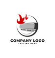air conditioner on fire logo icon vector image vector image