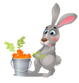 animated grey hare and steel bucket filled with vector image vector image