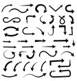 black set of arrows hand drawn doodle vector image