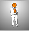 businessman with orange key on his head vector image vector image