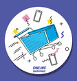 cart shopping on line pop art vector image vector image