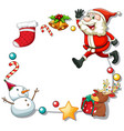 christmas frame with christmas objects on white vector image