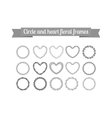 Circle and heart floral frames set vector image