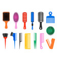 comb hair brush various colored tools for barber vector image