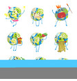 cute funny world earth emoji showing different vector image vector image