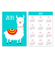 cute llama alpaca standing smiling simple pocket vector image