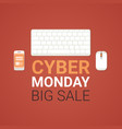 cyber monday big sale poster with computer mouse vector image vector image