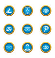 eye disease icons set flat style vector image vector image