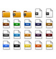 file folder web icon design a set of file types vector image vector image