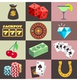 Flat gambling casino money win jackpot luck vector image vector image