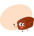 funny smiling whole wheat dark brown bread loaf vector image vector image